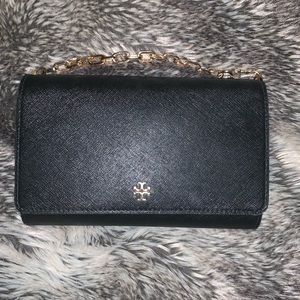 Gorgeous Black Leather Tory Burch Bag with Gold